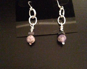 Silver chain with purple beads earrings