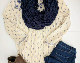Navy Blue Scarf | Trendy Winter Navy Blue Scarf | Winter Fashion | Arm Knitted Scarves | Navy Blue Scarves | Women's Navy Blue Scarves |