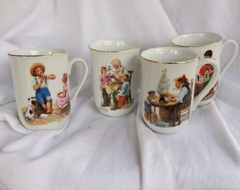 Vintage Porcelain Norman Rockwell Mugs Set of 4 from Norman Rockwell Museum