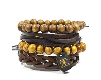 4 Pack All Brown Bracelet Set