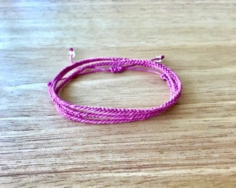 Wrap Around Pink Hemp Bracelet