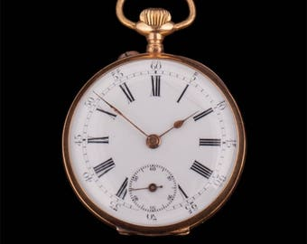 Gold open face pocket watch with engraving on back case, 10 jewels, Number: 39937.
