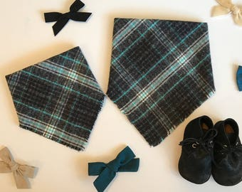 Charcoal and Teal Plaid Infant and Toddler Blanket Scarf Bandana Bib, baby shower gift, baby bib, expectant mother gift