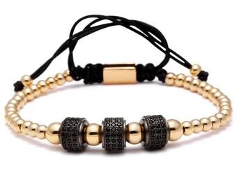 Gold bead - omari three diamond & micro string bracelet