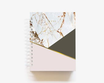 2018 Weekly Daily Monthly Student Planner Agenda Calendar Custom 12 Months Marble Gold Foil - Blushing Olive