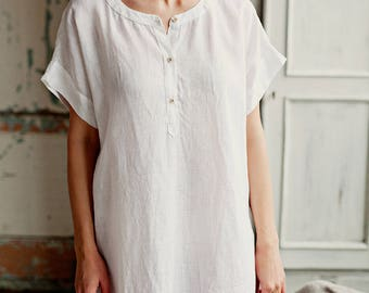 Linen nightdress, womens' linen sleepwear, washed linen, high quality softened linen