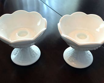 Indiana Colony Harvest Milk Glass Candle Holders With Grape Design