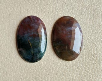 Red Moss Agate 2 Pieces Set, Ovel Agate Cabochon, Red Moss Agate Gemstone, Designer Jewelry Cabochon Gemstone for Jewelry Craft Supply