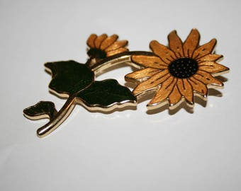 Enamel Cloisonne Sunflower Brooch Signed by Fish and Crown Vintage Costume Jewelry Pin Floral Summer Yellow Green
