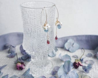 the ice and fire - drop earring -blossom earring -love