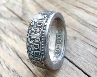 Two Shilling Great Britain Coin Ring - Coin Jewelry - British Coin Ring - UK Jewelry - Rings From British Coins - English Rings From Coins