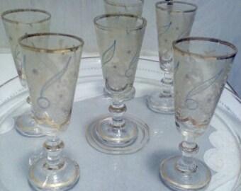 glazed with french vintage tray, shot glasses vintage 1900/1920's