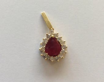 Ruby & Diamond Pear Shaped Clasp