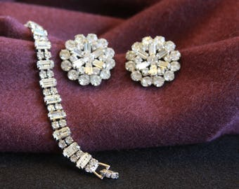 Vintage Weiss Clear Rhinestone Bracelet and Clip Earring Set