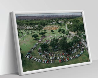 ANTIQUE CARS FESTIVAL | Aerial Photography, Digital Print, Wall Art Decor, Art Prints, Top view