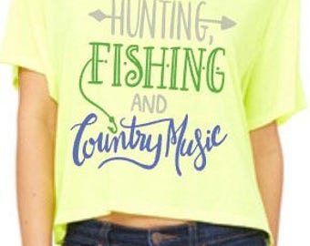 Womens Hunting Fishing and Country Music Neon crop top
