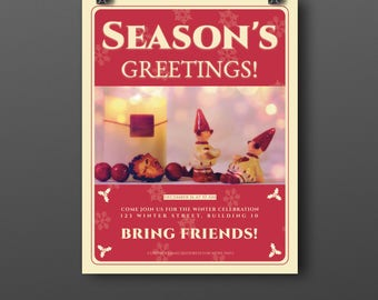 Season's greetings flyer with a non religious affiliated message. Winter holiday season flyer with x-mas photo decorations included