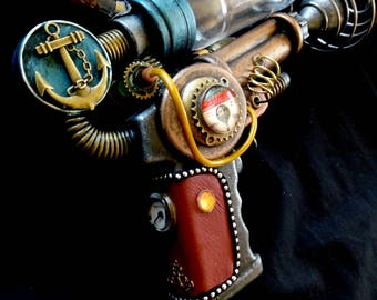 STEAMPUNK Nautilus Ray gun, metallic blue, leather handle, cosplay or display, working light