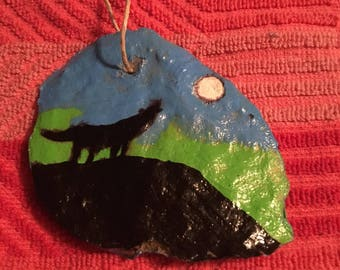 Hand painted wolf ornament