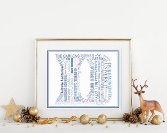 Printable Art Print, Duke Art Print, Typographical Art Print, Duke University, Duke Blue Devils, Duke Blue, Duke Basketball, Christmas Gift