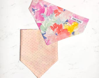 FLORAL WATERCOLOR Reversible Bandana