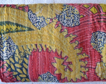 Kantha Vintage Quilt Handmade Reversible Cotton Indian Blanket Throw Bedding G-23