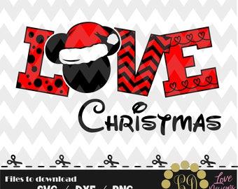 LOVE Christmas svg,png,dxf,cricut,silhouette,jersey,shirt,proud,birthday,invitation,sports,cut,girl,new,decal,disney,mickey,minnie,santa,svg