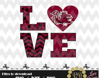 LOVE Gamecocks svg,png,dxf,cricut,silhouette,jersey,shirt,proud,birthday,invitation,sports,cut,girl,softball,decal