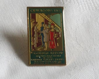 Vintage French Cie Wagons Lits Golden Arrow Pullman train pin or brooch. London Calais Paris