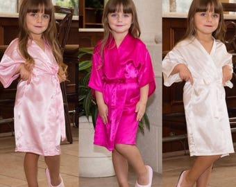 Flower Girl Robe, Flower Girl Gift, Bridal Robe, Bride Robe, Bridal Party Robes, Bridesmaid Gift, Silky Robe, Satin Robe,Bridesmaid Robes