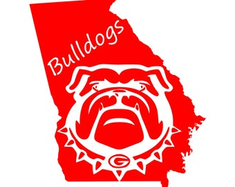 Georgia SVG and Studio 3 Cut File Stencil Decal Files Bull Dog Logo for Silhouette Cricut Football SVGS Cutouts Decals Logos Bulldogs