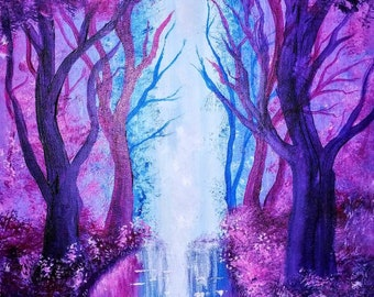 Enchanted woods acrylic fantasy painting 12x16