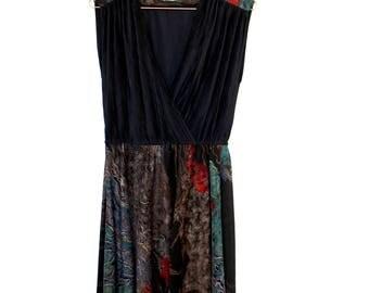 VINTAGE black dress waisted drape dress 1980's