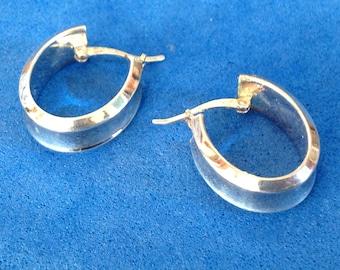 Vintage! Sterling silver hoop pierced earrings lever closure - different !