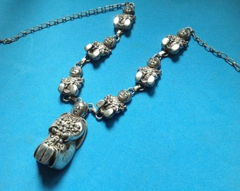 Carol Felley sterling necklace. 97g silver Native American story teller