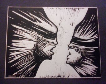 "First Edition ""Yes, I am"" linocut"