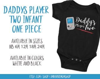 Baby Bodysuit, Baby One-Piece, Cute Infant Bodysuit, Daddy's Player Two Infant Bodysuit, Daddy's Player Two Infant One-Piece Black