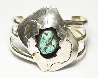 """Turquoise Sterling Silver Handcrafted Unsigned Bangle Cuff Bracelet 5 3/4"""" 56mm"""