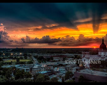 Dramatic Sunset with cloudscape over the Basilica of St. Mary, Numbered Edition, Minneapolis.  Numbered edition of 60