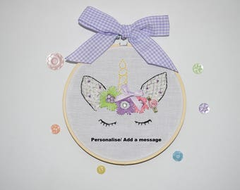 Embroidery Hoop Art - Birthday gift - Unicorn art- Baby Girl Present - Unicorn embroidery - Handmade - Unicorn gift - Personalised art