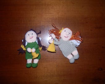 Two crocheted christmas angels