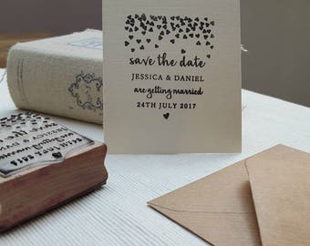 Save The Date Wedding Stamp Hearts Rubber Design, Custom Rubber Stamp, Wedding Stamp