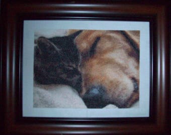 Kitten + Dog Counted Cross Stitch