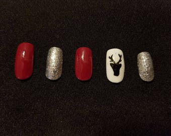 Winter Deer Accent Nail Red and Silver Glitter False Press-On Glue-On Nails
