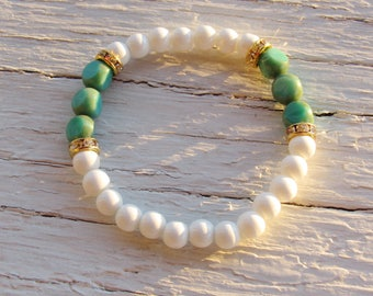 White Blue and Gold Bracelet