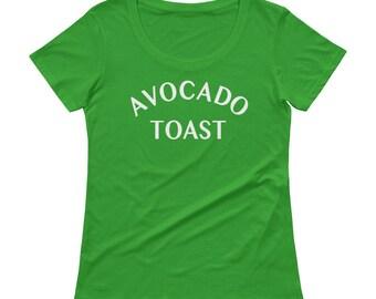Avocado Toast Shirt, Ladies Avocado Toast Tee, Vegetarian Scoopneck T-Shirt, Avocado Toast Tee, Avocado Tee, Vegan Top, Vegan t shirt