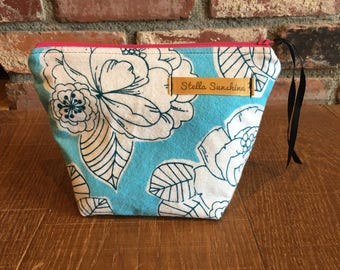 blue sky floral handmade flannel makeup bag, cosmetic pouch, toiletry bag