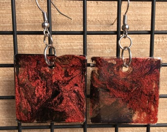 Sparkly Epoxy Earrings - Red, Black, Clear