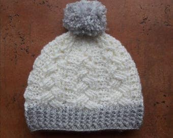 Baby Hat Cable Pattern with Pom Pom