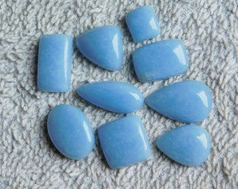 Lot ! Blue Angelite gemstone Cabochons Very Gorgeous looking Excellent Quality Natural handmade Angelite Top quality 112.00cts. 9 Pieces.